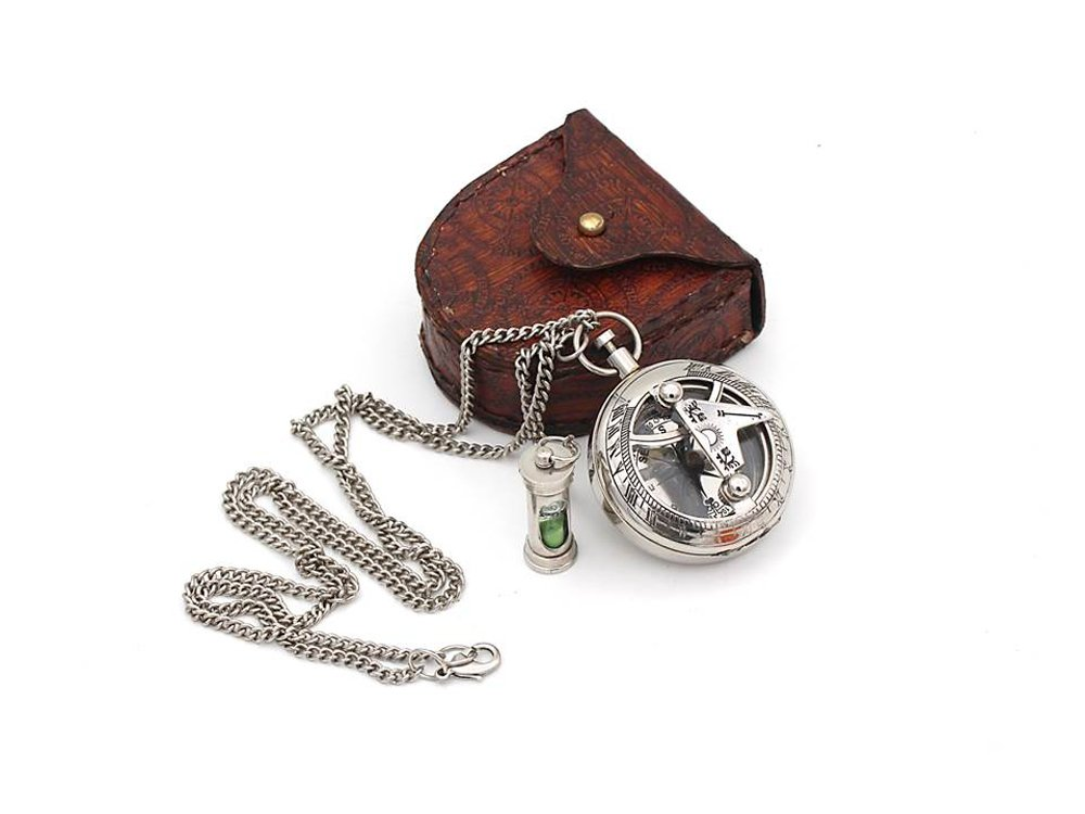 ROORKEE INSTRUMENTS (INDIA) A NAUTICAL REPRODUCTION HOUSE Best Mens Gifts Necklace Sundial Push Compass with Leather Case