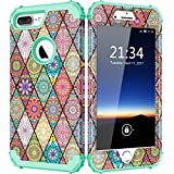 Hocase iPhone 7 Plus Case Vintage Flower Pattern Design Series Shock Absorbing Drop Protection Hybrid Dual Layer Protective Case for Apple iPhone 7 Plus 5.5-inch (2016) - Teal