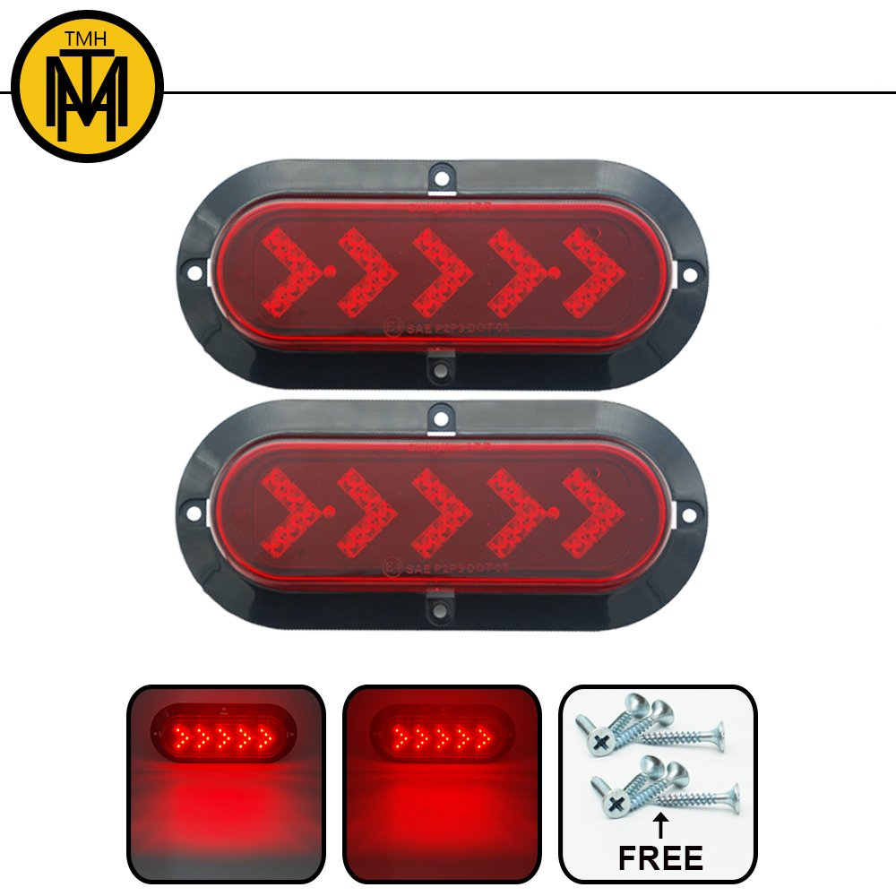 TMH ( Pack of 2 ) 6' 25 ARROW LED Surface Mount Oval Red Stop Brake Marker Tail LED Light, for Truck Trailer Trail Bus 12V DC