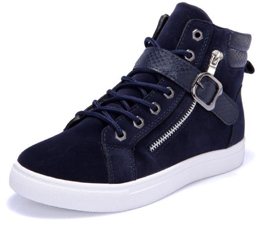 Kuro&Ardor Men's High-Top Sneaker Shoes Fashion Strap Side Zip Casual Shoes Boys (10.5 US 28cm, Navy Blue)