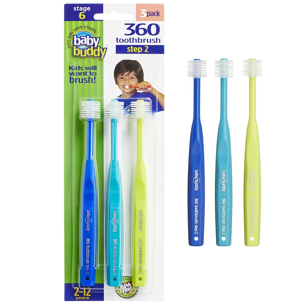 Brilliant Child Toothbrush by Baby Buddy - For Ages 2+ Years, BPA Free Super-Fine Micro Bristles Clean All-Around Mouth, Kids Love Them, Royal-Teal-Lime, 3 Count