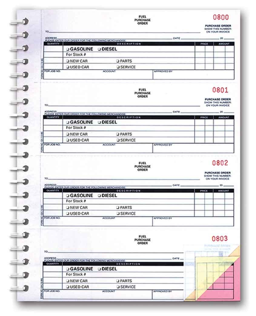 Fuel Purchase Order Book (3-Part Fuel PO Book) (200 per Book) by Donkey Auto Products