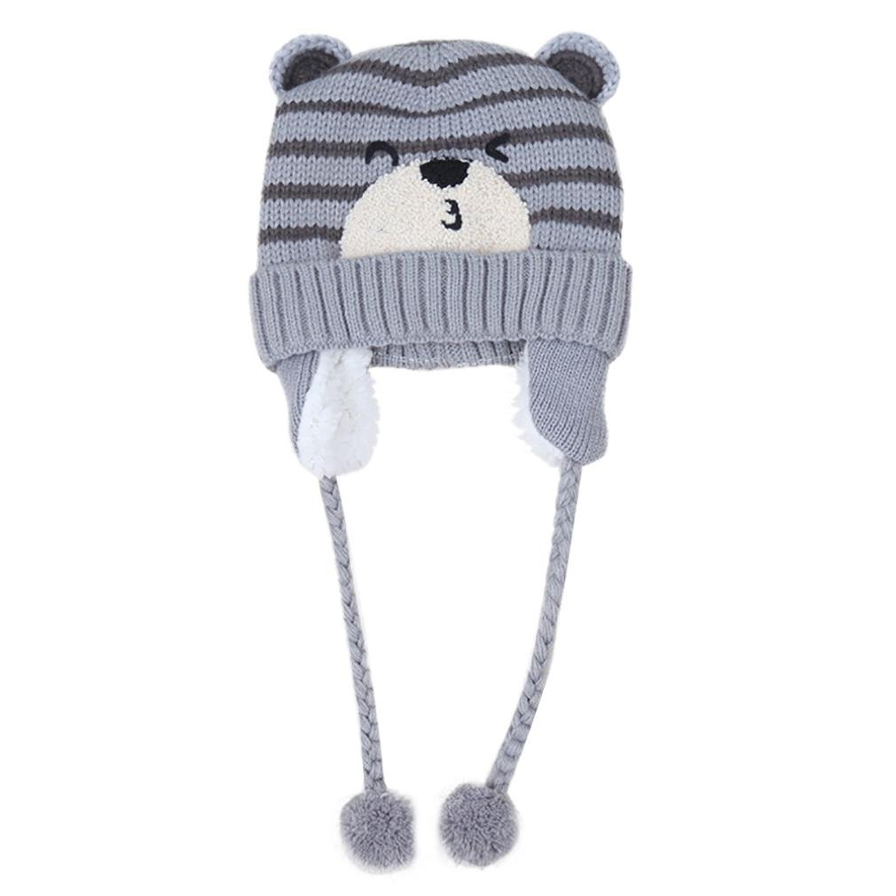 Perman Baby Girls Boys Toddler Cute Knit Cap Warm Earflap Hat PM-919