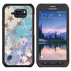 Estrella de Oro Nubes Glitter Azul Púrpura- Metal de aluminio y de plástico duro Caja del teléfono - Negro - Samsung Galaxy S6 active / SM-G890 (NOT S6)