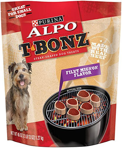 Purina ALPO T-Bonz Brand Dog Treats, Filet Mignon Flavor, Steak-Shaped, 45-Ounce Pouch, Pack of 1