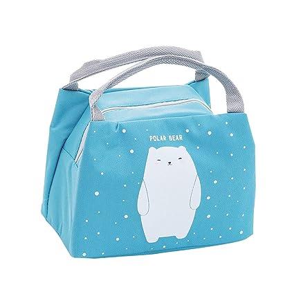 Oyachic Bolsa Termica Bolsas de Almuerzo Lunch Bag Linda Mascota Bolsas de Cremallera Bolsa de Tela Algodon Merienda Impermeable Portátil (Oso polar)