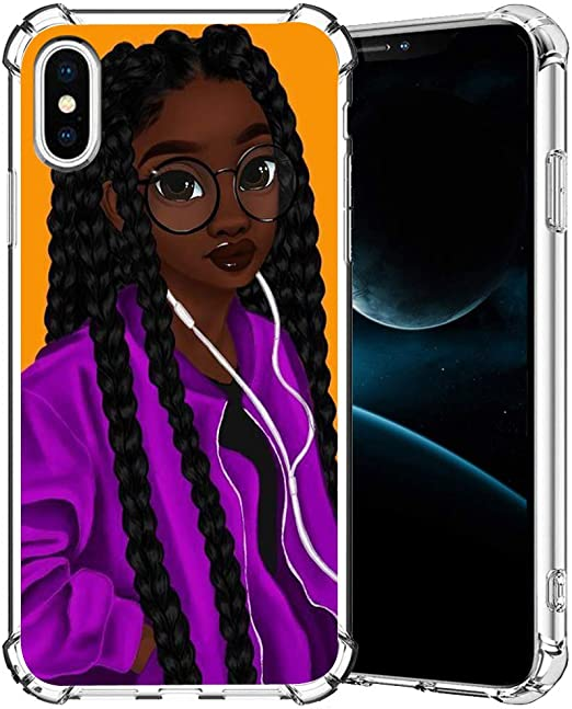 Amazon Com Iphone Xr Case Girly Black Girl 4 Iphone Xr Case For Girls Women Clear With Pattern Designs Slim Flexible Soft Tpu Rubber Protective Cases Cover For Apple Iphone Xr 6 1 Inch