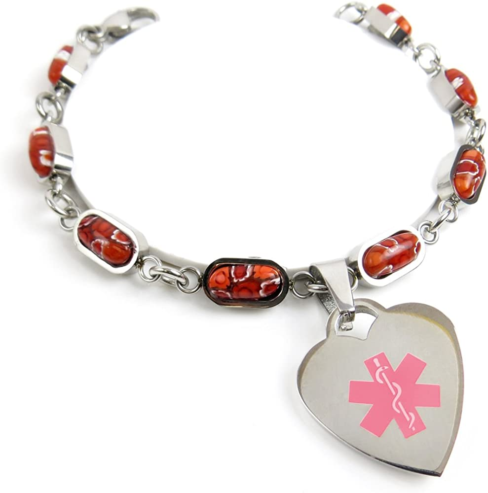 Pre-Engraved /& Customized Blood Type O Charm Medical Bracelet Pink Red Millefiori Glass My Identity Doctor
