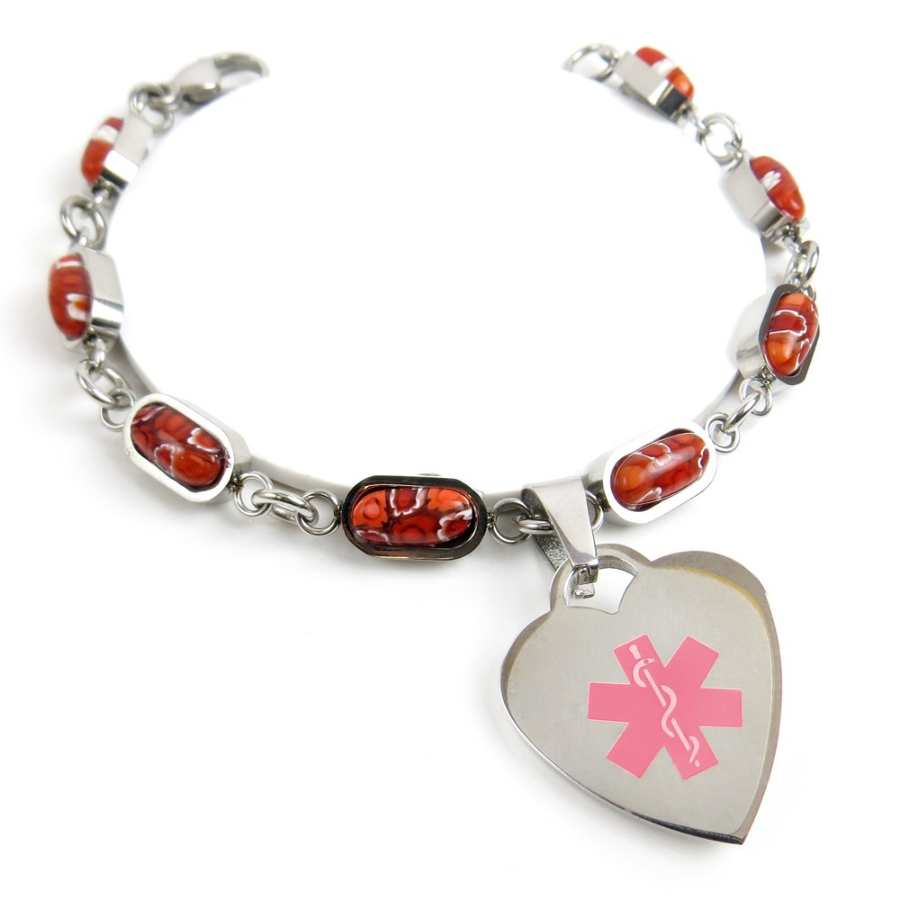 MyIDDr - Engraved No Nsaids ID charm bracelet Red Flower Pattern My Identity Doctor P5P-YR11-No-Nsaids-W4.5in