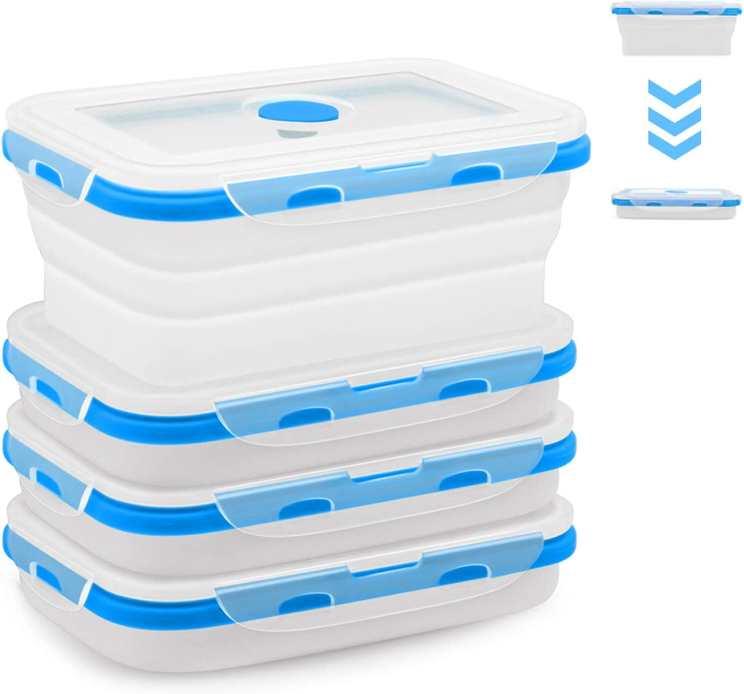 4 Pack Food Storage Container with Lids, Collapsible Silicone Food Preserving Storage Boxes, Lunch Boxes, BPA Free,Oven Microwave Freezer and Dishwasher Safe (Same Capacity)