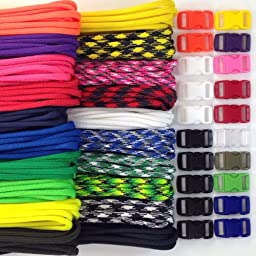 Paracord Kit with 200 Feet and 20 Buckles to Make 20 Paracord Bracelets Made in USA 550lb Type III 7 Strand Parachute Cord 20 Colors 10 Feet Each
