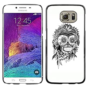 Plastic Shell Protective Case Cover || Samsung Galaxy S6 SM-G920 || Bender White Black Indian Skull Robot @XPTECH