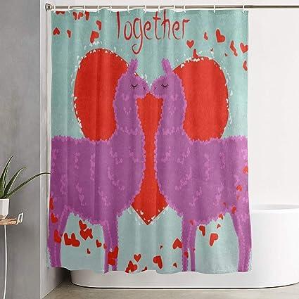 Amazon com: HYHACZX Two Lovers Kissing Llamas Bath Curtain