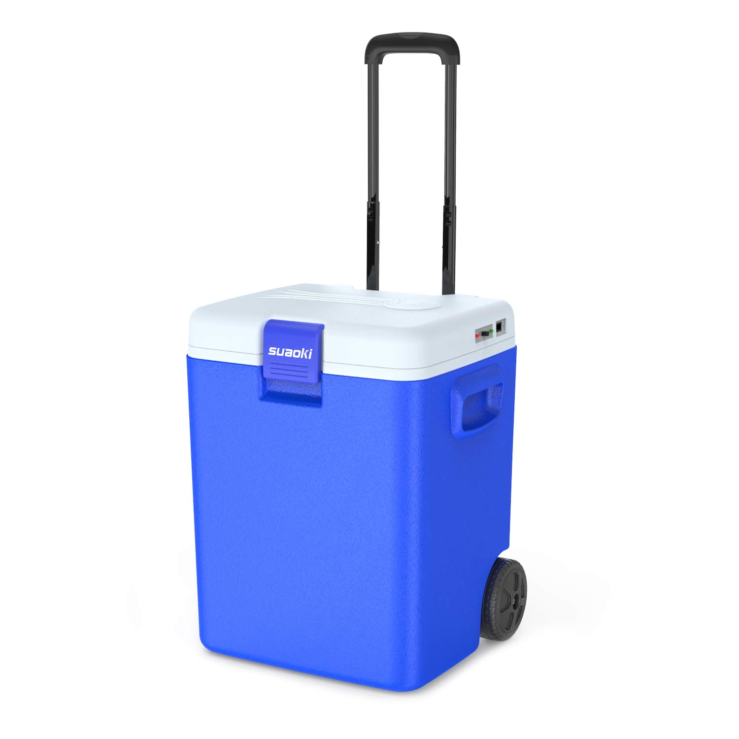 SUAOKI 32 Quart /30L Portable Car Fridge Electric Freezer and Warmer Thermoelectric System with Wheels and Handle for Car Dorm Travel Camping Picnic Outdoor Party, 12V DC (Blue)