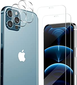 iPhone 12 Pro HD Clear Tempered Glass Screen Protector + Camera Lens Protectors by YEYEBF, [2+2 Pack] [Anti-Shatter][3D Glass][Case-Friendly] Screen Protector Glass for iPhone 12 Pro