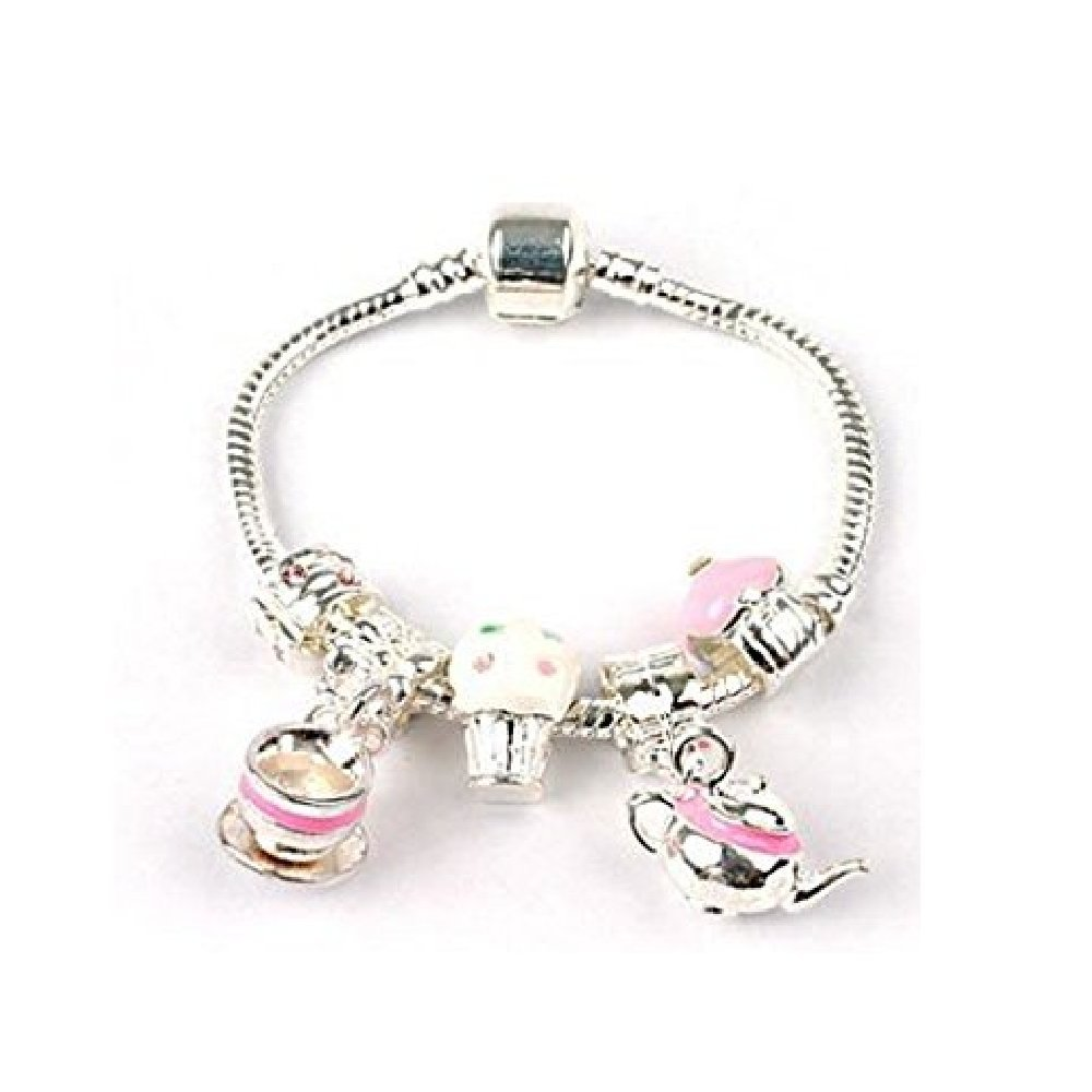 Liberty Charms Childrens Tea and Cake Silver Plated Charm Bead Bracelet