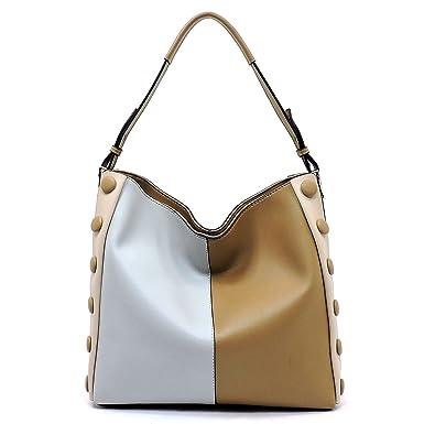 ec8a11ae Amazon.com: Le Miel Color Block Zip-top 3 Compartment Hobo- Taupe Multi:  Clothing