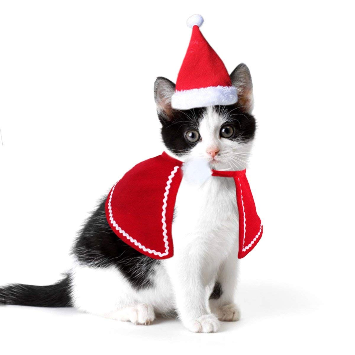 M Cat Dog Christmas Hat Santa Costumes with Cloak for Kitty Cats Small Dogs, Red