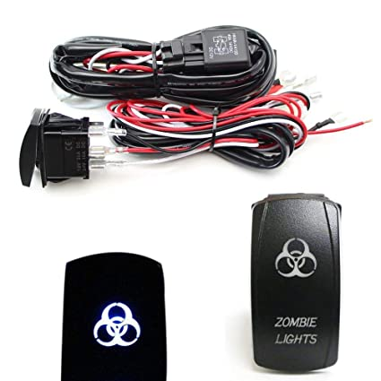 ijdmtoy 2-output universal relay wiring harness with zombie lights blue led  light on/