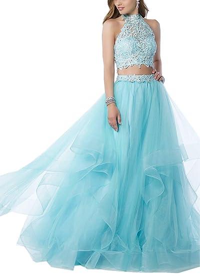 Amazoncom Maricopyjam Womens Sexy 2 Piece Prom Dress Halter