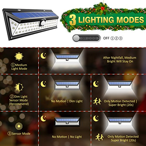 LITOM Solar Lights Outdoor, 54 LED Super Bright 270°Wide Angle Motion Sensor Lights, Wireless Waterproof Security Solar Light for Front Door, Yard, Garage, Deck, Porch, Shed, Walkway, Fence (2 Pack) by Litom (Image #4)