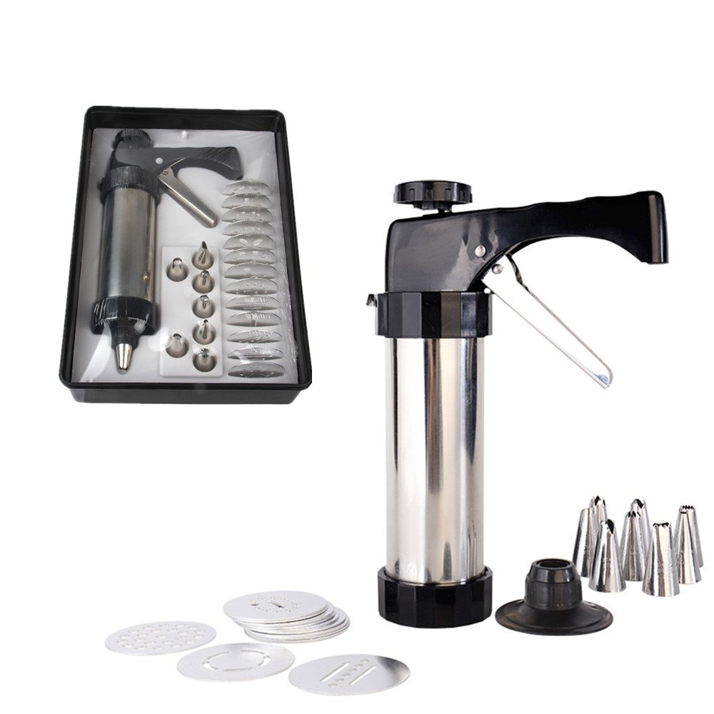 FashionMall Stainless Steel Cookie Press Gun Set Biscuit Press Tools with 13 Cookie Disc Shapes, 8 Icing Tips