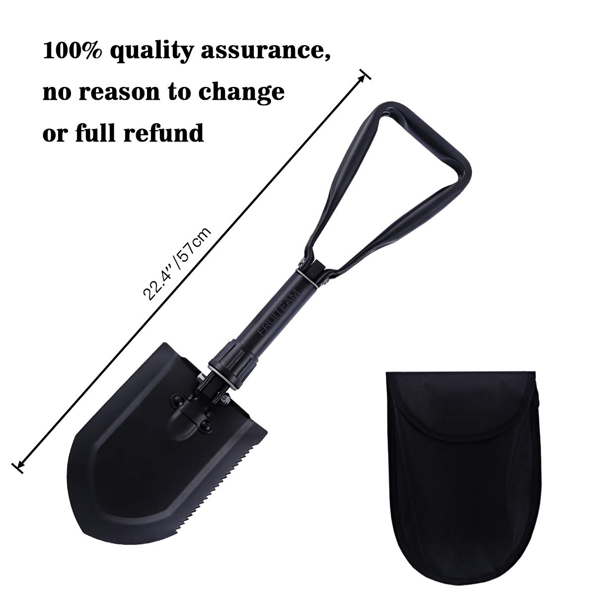 FRUITEAM D Handle Shovel 22.4'' Folding Shovel High Carbon Steel for Survival Camping Gardening Snow Removal and SUV Emergencies, Entrenching Trowel Tool Includes Carrying Pouch with Loop