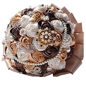 Rose Flower Wedding Bouquet Brooch Crystal Pearls Silk Bridal Flowers (Brown)