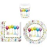 Procos 36pezzi di stoviglie set Happy Birthday festa–piatti bicchieri tovaglioli per 8persone