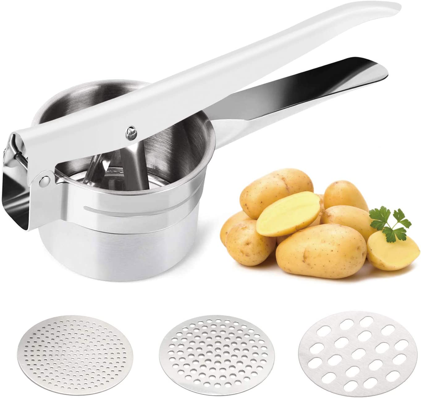 Delyking Stainless Steel Potato Ricer, Baby Food, Vegetables and Fruit Masher, Large Capacity, with 3 Interchangeable Fineness Discs, Dishwasher Safe