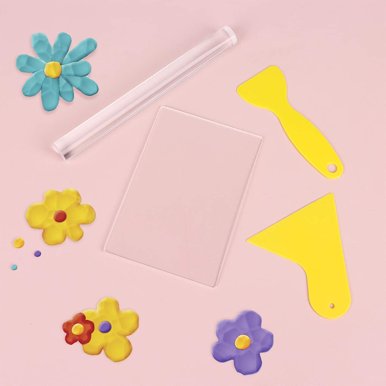 WayJaneDTP 7Pieces Acrylic Clay Roller with Acrylic Sheet Polymer Clay Cutters Rubber Clay Pottery Craft Tool for Clay DIY Making
