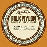 D\'Addario BEC032 Folk Nylon Guitar Single String, Clear Nylon, Ball End, .032