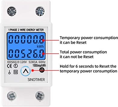 DDS528 5-32A 230V 50Hz LCD Display Single Phase Energy KWh Meter Kilowatt Hour kwh Meter 35mm DIN Rail Mounting Digital Energy Meter