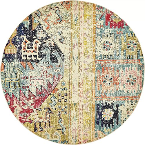Modern Overdyed Distressed Rug Multi 6' x 6' FT (183cm x 183cm) Round Brighton Area Rugs Abstract Tribal Fancy Contemporary Living & Bedroom - Tribal Round