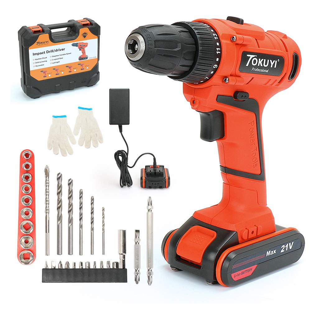 PowerGiant 20V Max Lithium-Ion Cordless Drill Driver Kit - 3/8-inch Chuck with LED light, 2-Speed Torque 17+1 Position, 1 Hour Fast Charger, 29pcs Accessories, Battery Included
