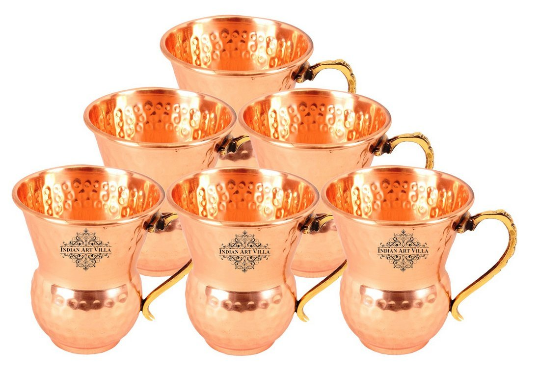 IndianArtVilla Set of 6 Pure Copper Hammered Glass with Brass Handle 400 ML each - Drinkware Home Hotel Restaurant Tableware Serveware