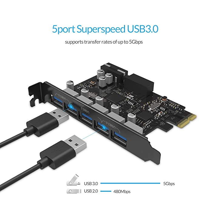 ORICO PCIE to USB 3.0 5-Port PCI Express Expansion Card - USB 3.0 20-PIN Connector (Includes with 4 Pin to 15 Pin Cable) - Black