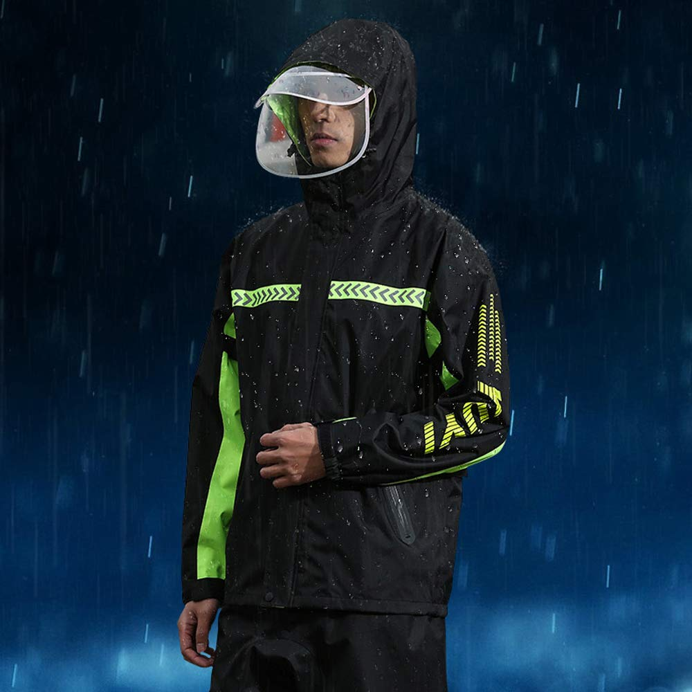 Ynport Crefreak Mens Waterproof Rainsuit Sets Windproof Hooded Raincoat Two Piece Rain Suit in Black with Safety Reflectors