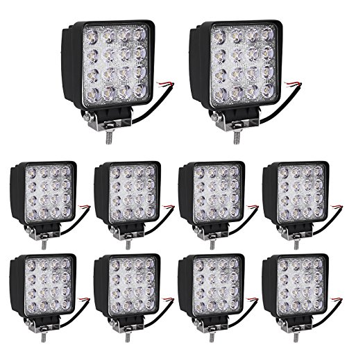 YITAMOTOR Led Pod Light,10PCS 4inch 48W Square Led Work Light Offroad Spotlight truck lights Waterproof Led Light for ATV Motorcycle 4x4 Tractor Jeep Truck 12V,1 Years Warranty