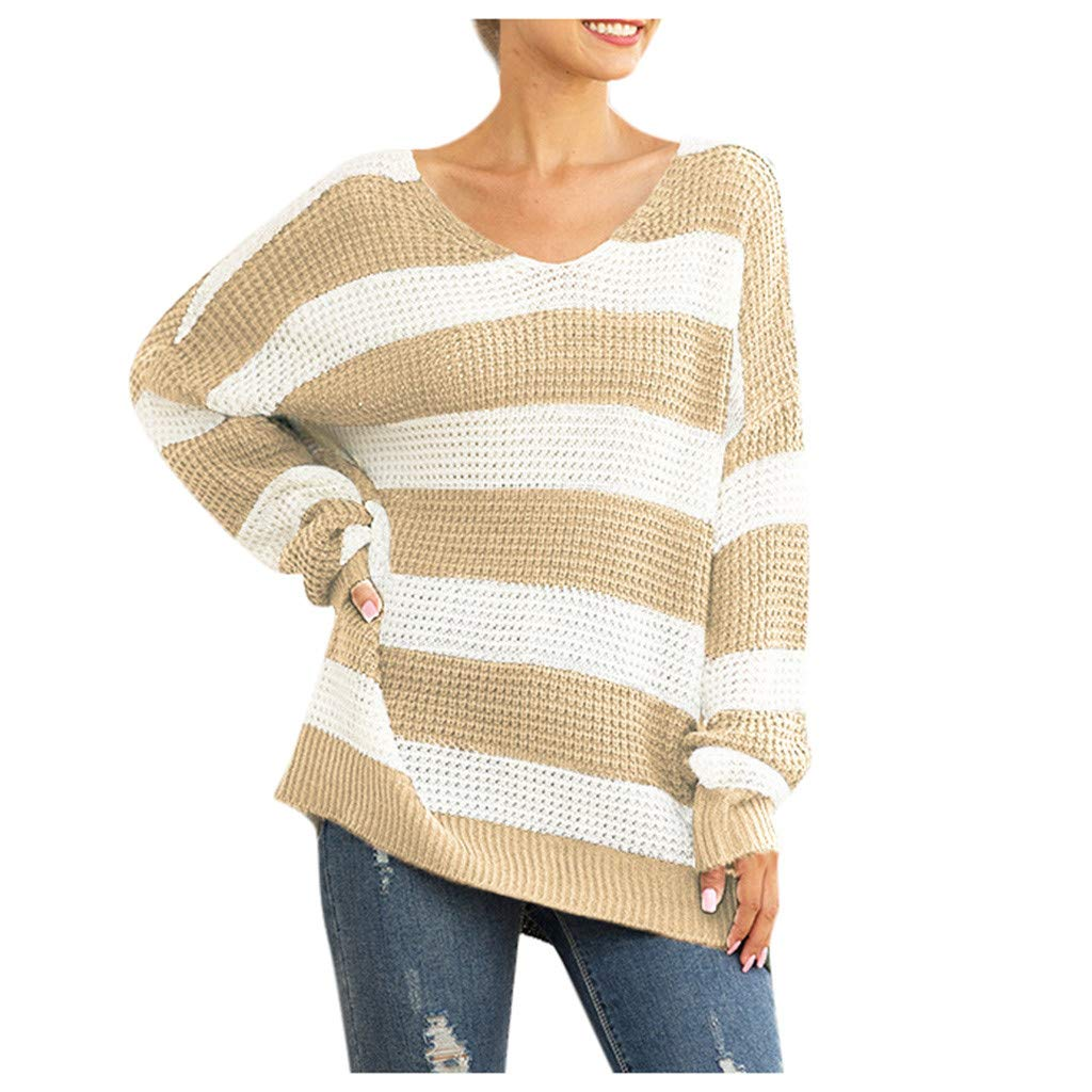 Eoeth Stitching Stripes Knit Sweaters for Women,Fashion Casual O-Neck Shoulder Pocket Knitted Top Blouse Pullover Shirts Yellow by Eoeth