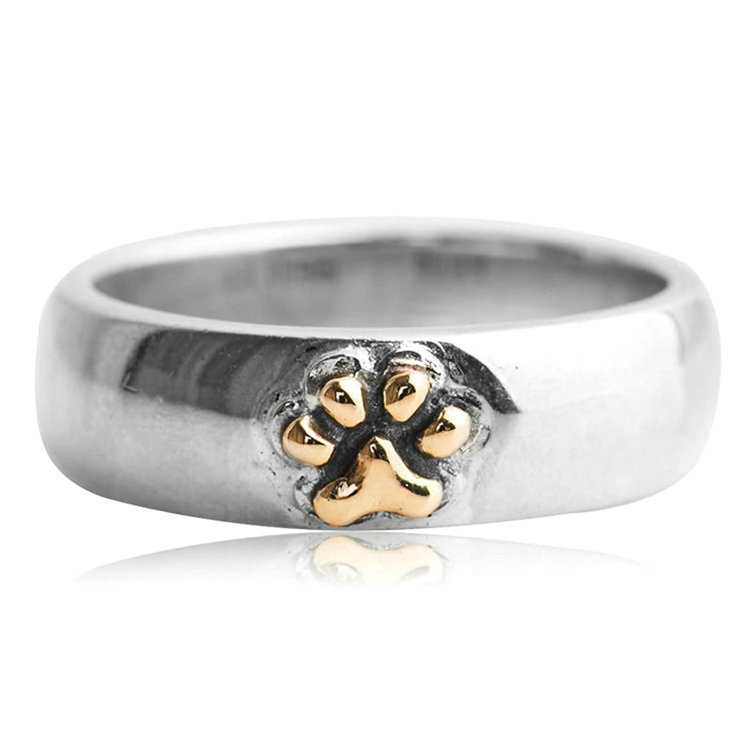 Bishilin Mens Rings Silver Plated Round Cute Animal Footprint Friendship Rings Silver Size 8.5