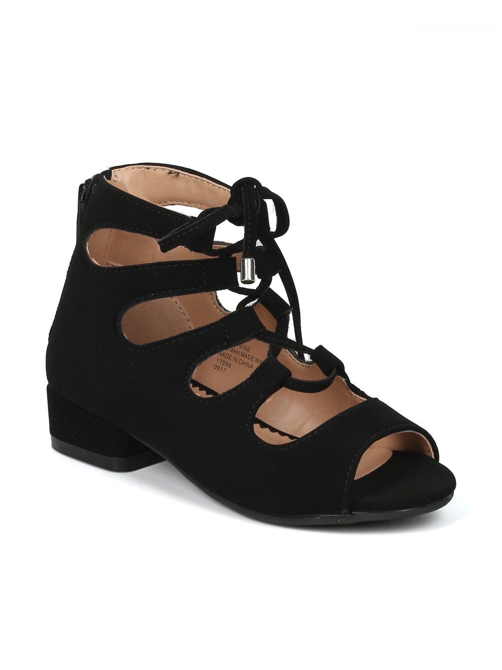 369f0ca19 Alrisco Girls Peep Toe Lace Up Gladiator Low Heel Sandal HF97 - Black  Nubuck (Size  Little Kid 11)
