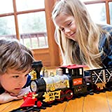 MOTA Classic Toy Train with Real Smoke – Signature Lights and Sounds – Full Set with Locomotive Engine and Cars, Tracks