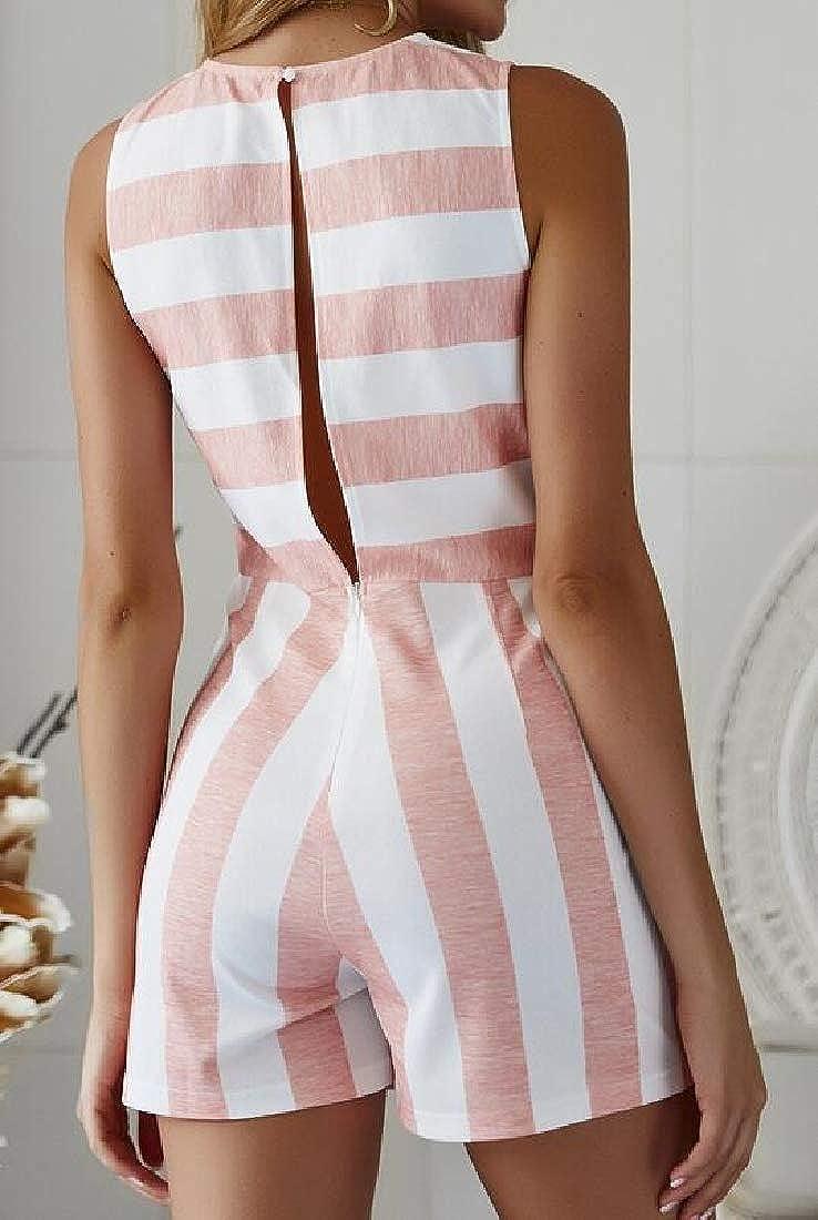Zantt Womens Casual Stripe Print Sleeveless Cotton Linen Shorts Jumpsuit Romper