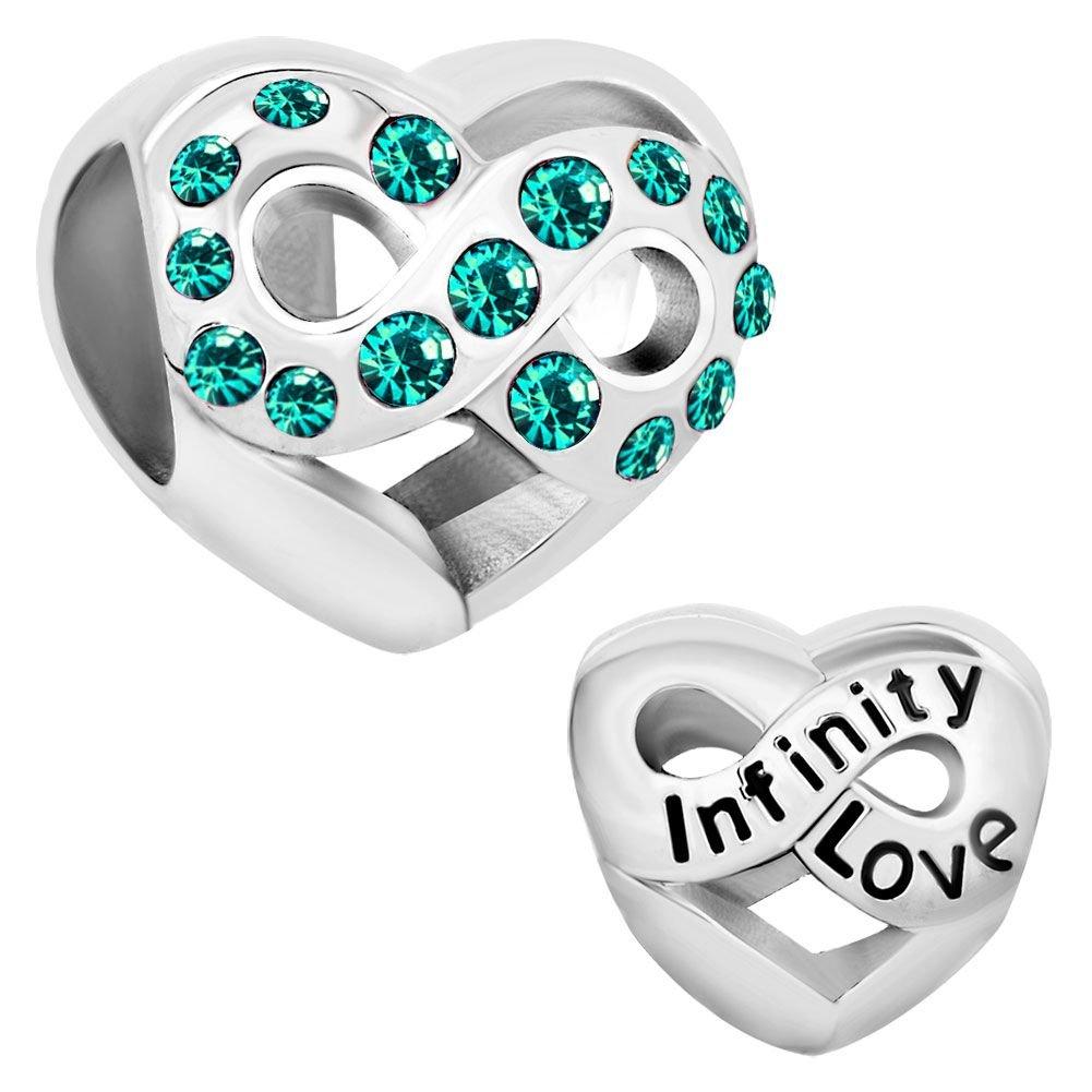 Uniqueen Armbandanhänger in Herzform mit Unendlichkeitszeichen, mit Kristallsteinen, passend für Pandora-Armbänder Li_DPC_MY736_X01