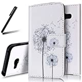 Galaxy A5 2017 Stand Case,Galaxy A5 2017 Flip Case Girl,Galaxy A5 2017 Wallet Case Butterfly,SKYMARS Butterfly Painting PU Leather Flip Wallet Case Stand Bookstyle Case with Card Slots for Samsung Galaxy A5 2017 (SM-A520),Two Dandelion Pattern