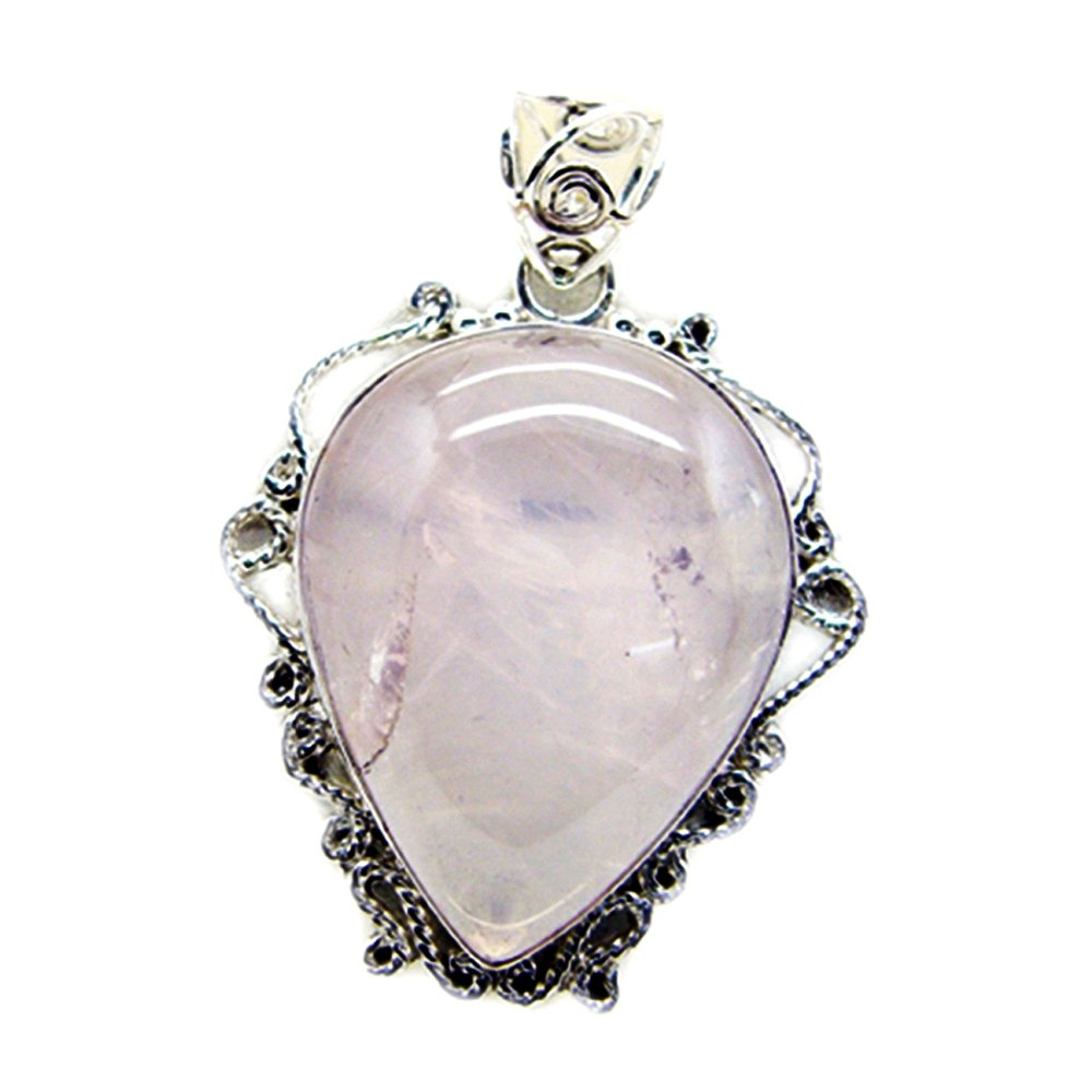 Gemsonclick Natural Rose Quartz Pendant For Women Silver Pear Shape Handmade Astrological Vintage Jewelry
