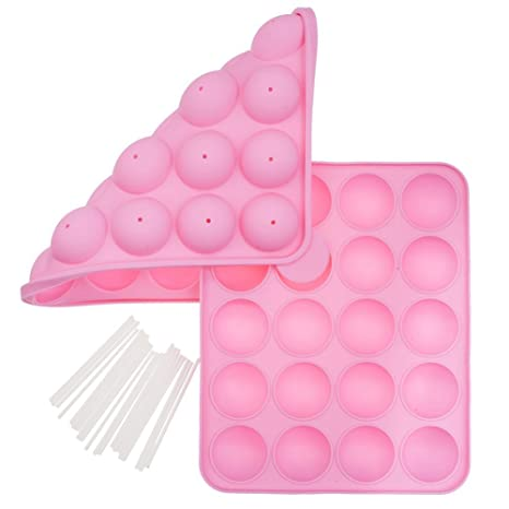 De alta calidad Juego de con par de reutilizable y no se pega De colour rosa de silicona cake pops para hornear Moldes ...