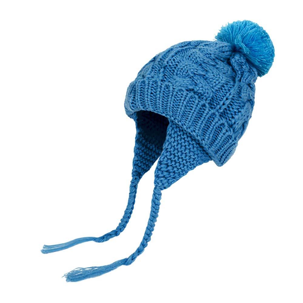 BingYELH Baby Hats,Toddler Kids Winter Earflap Beanie Hat Headgear Boy Girl Fur Pompom Knit Cap HOT Sale!