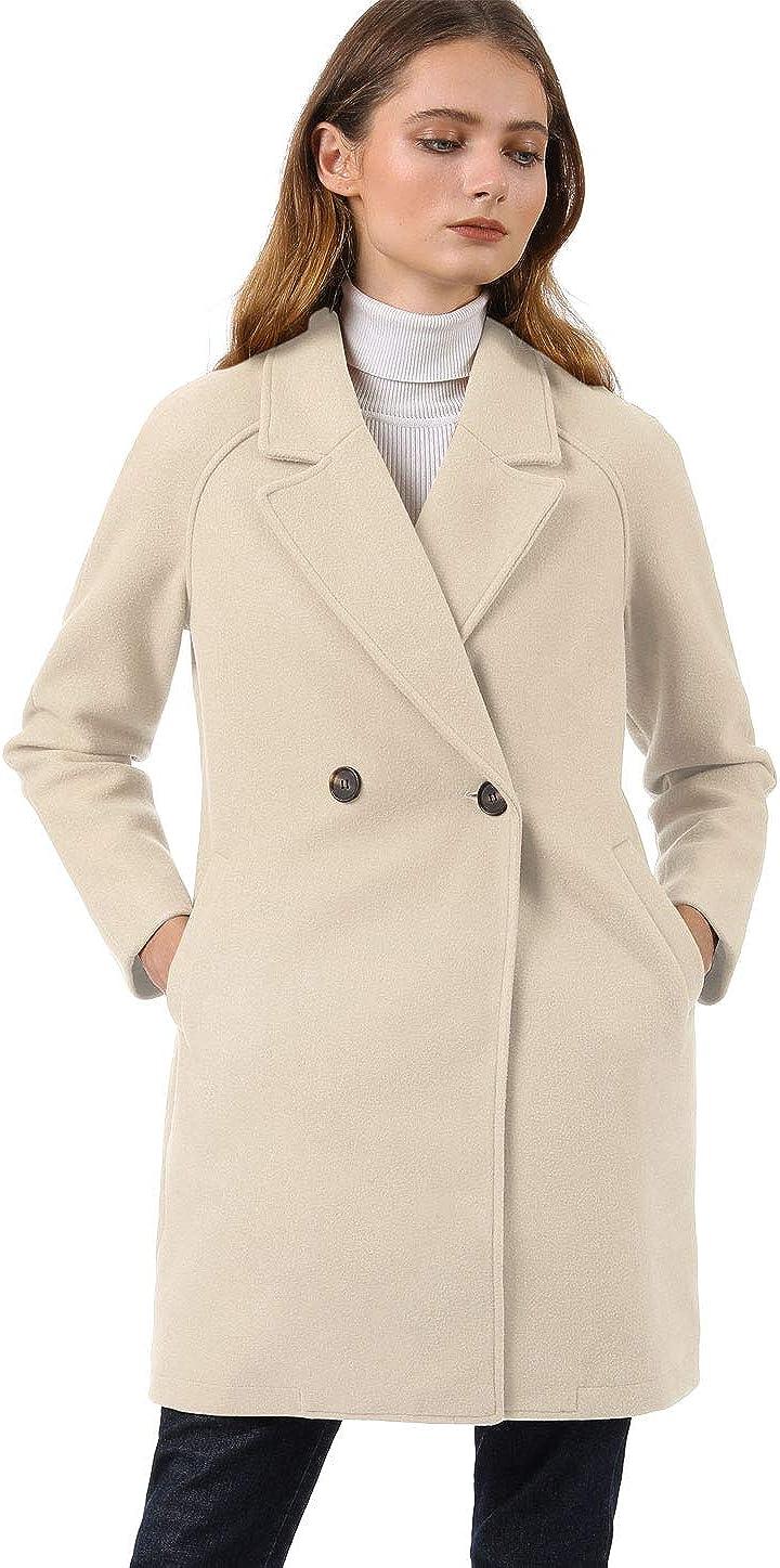 Allegra K Women's Notched Lapel Double Breasted Raglan Winter Coats Cream White